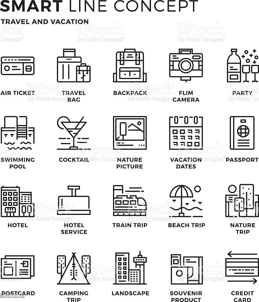 Smartline icon concept Travel vector art illustration