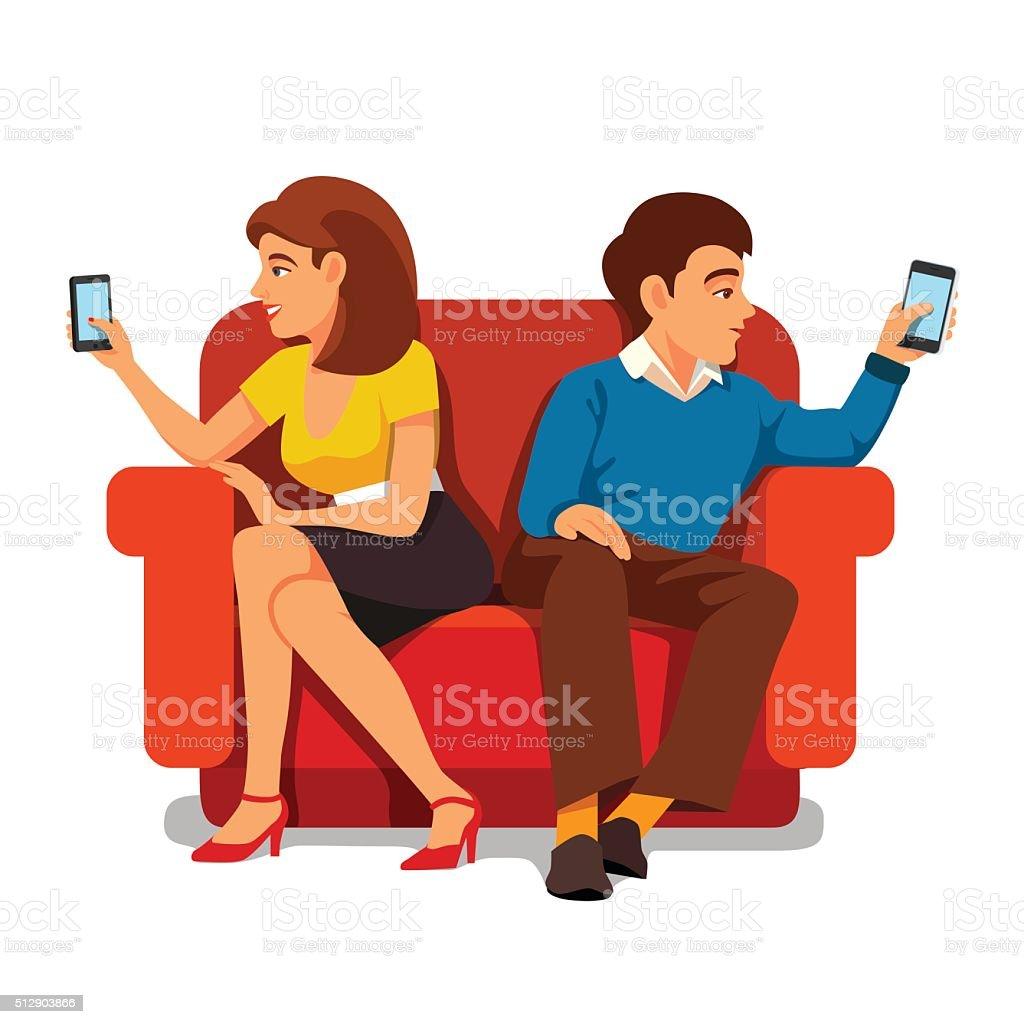 Smartphone addiction family relationship vector art illustration