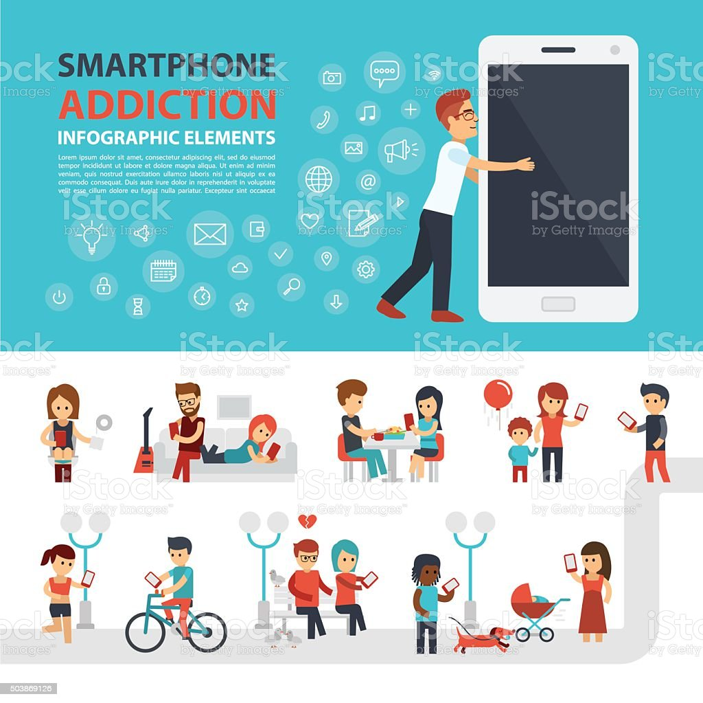 Smartphone addiction infographic elements with icon set, people with phones. vector art illustration