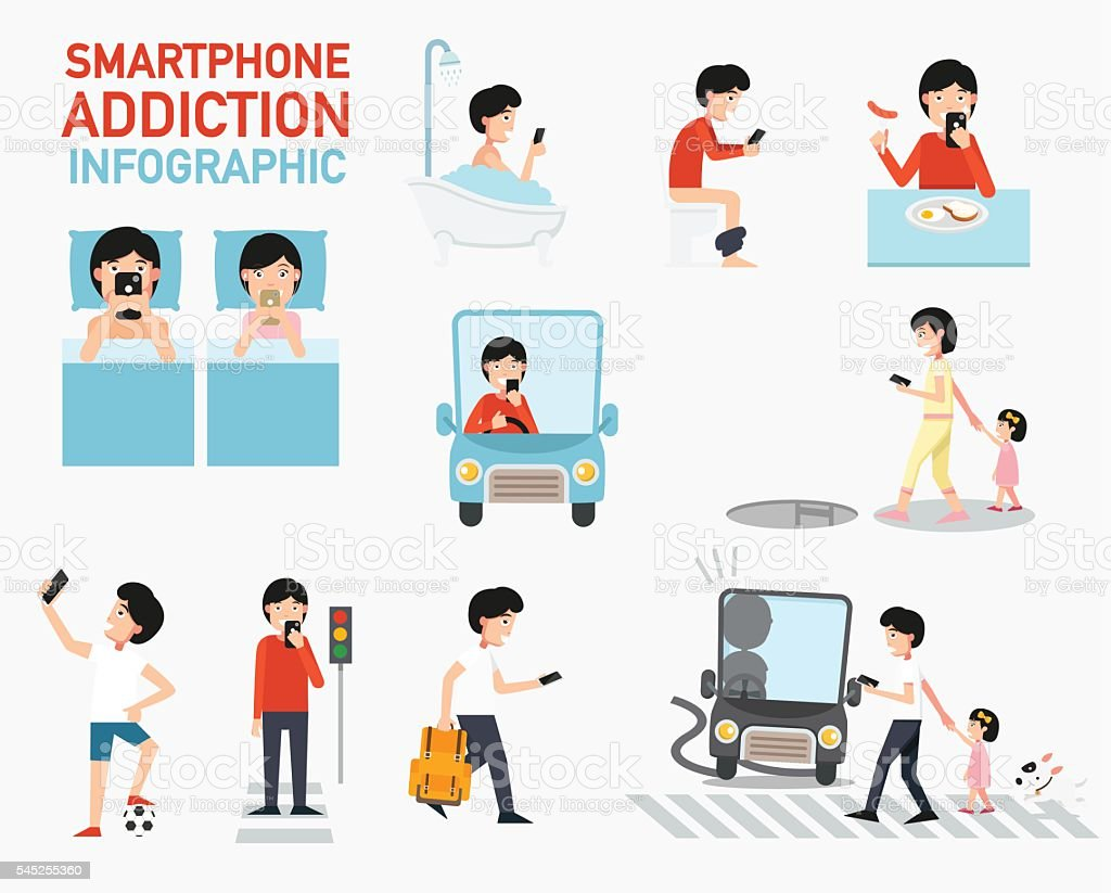 Smartphone addiction infographic.vector vector art illustration