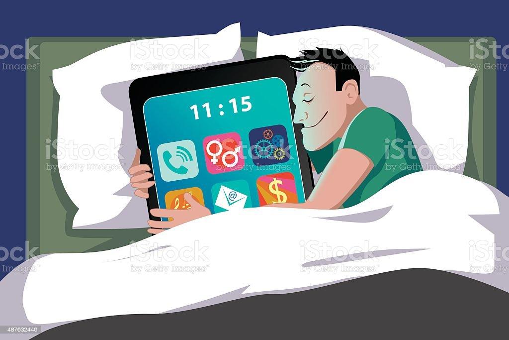 Smartphone Addiction vector art illustration