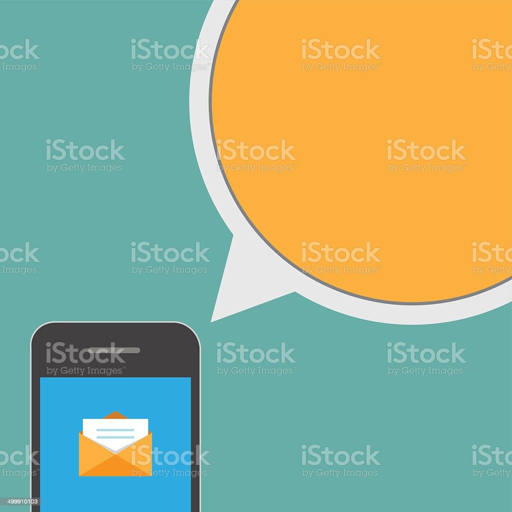 Smartphone and bubble talk message vector art illustration