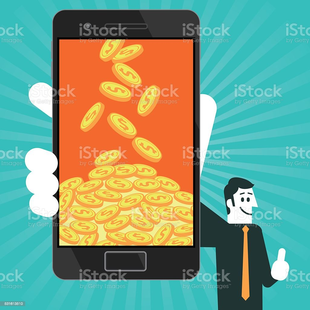 Smartphone and gold coins vector art illustration