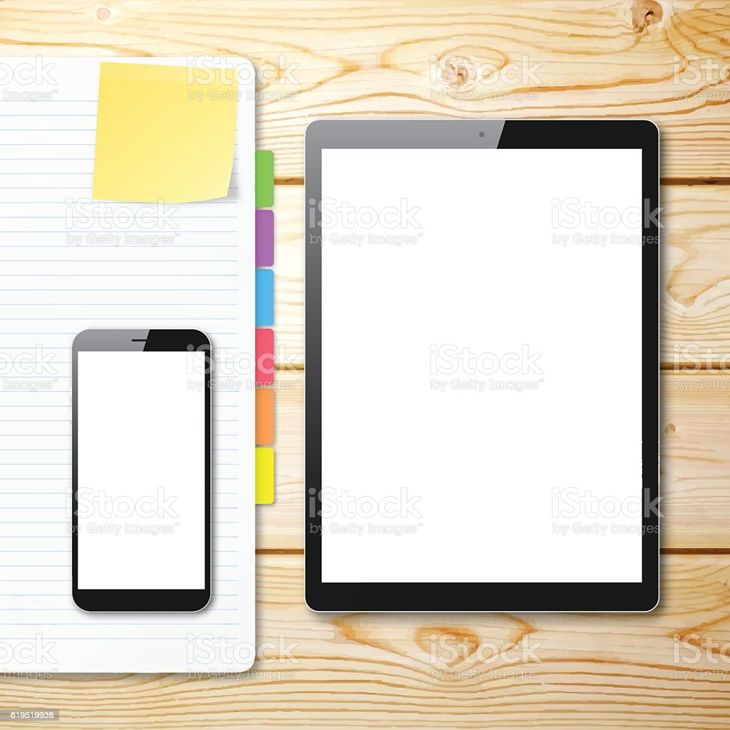 Smartphone and Tablet Pc with blank Screen on Wooden Background vector art illustration