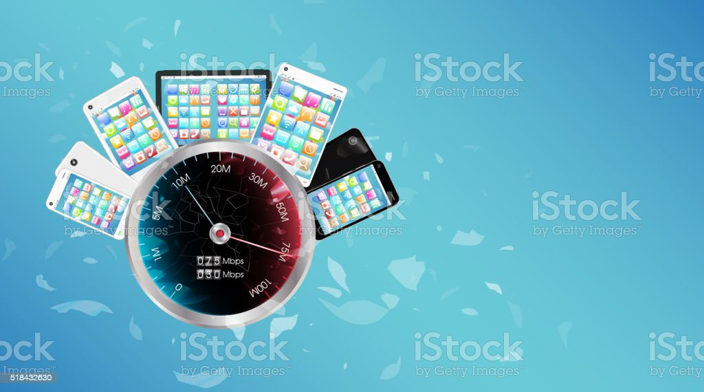 smartphone and tablet with internet speed meter vector art illustration
