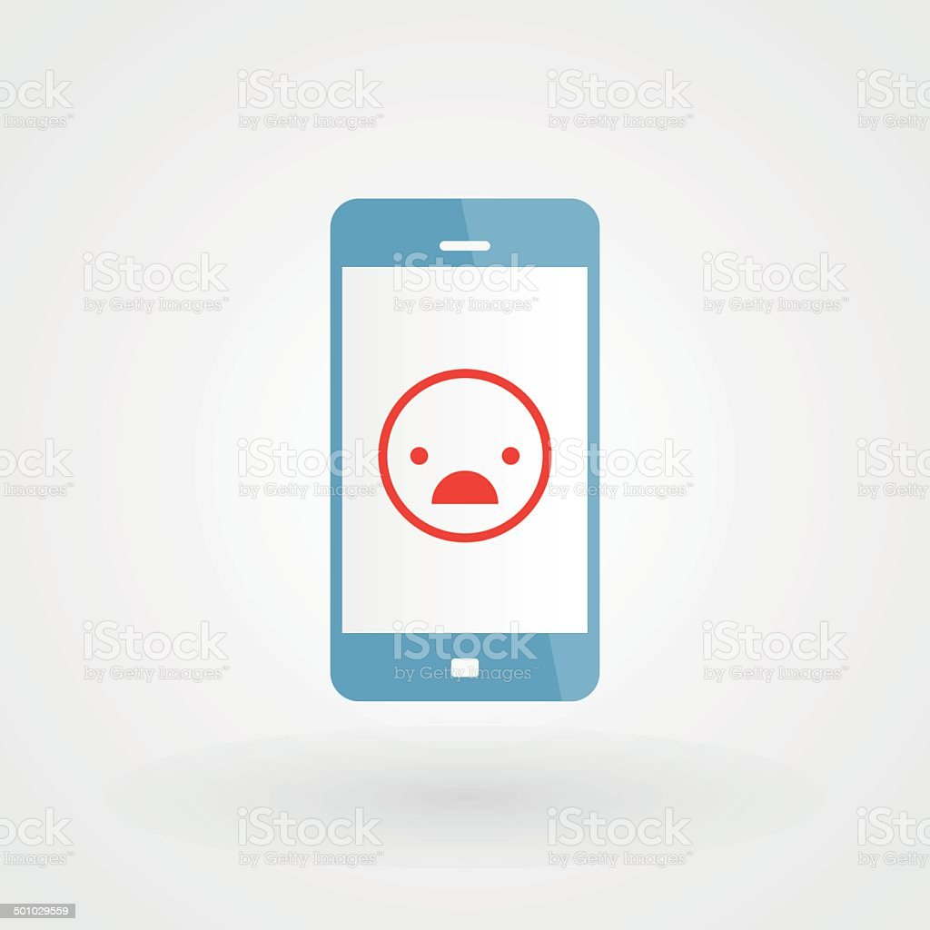 Smartphone and unhappy smiley vector art illustration