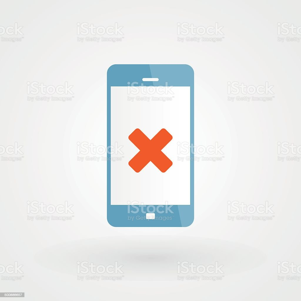 Smartphone and wrong icon vector art illustration