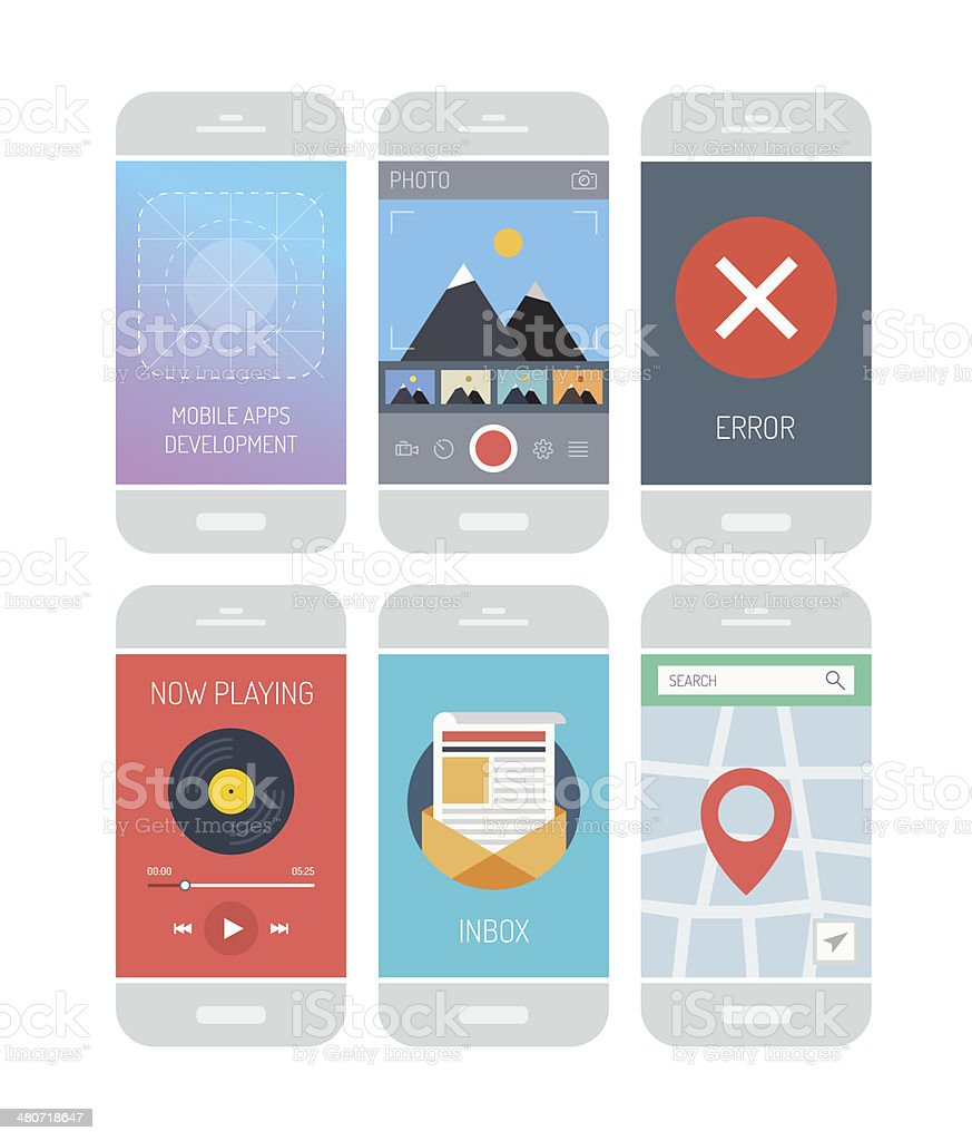 Smartphone application interface elements vector art illustration