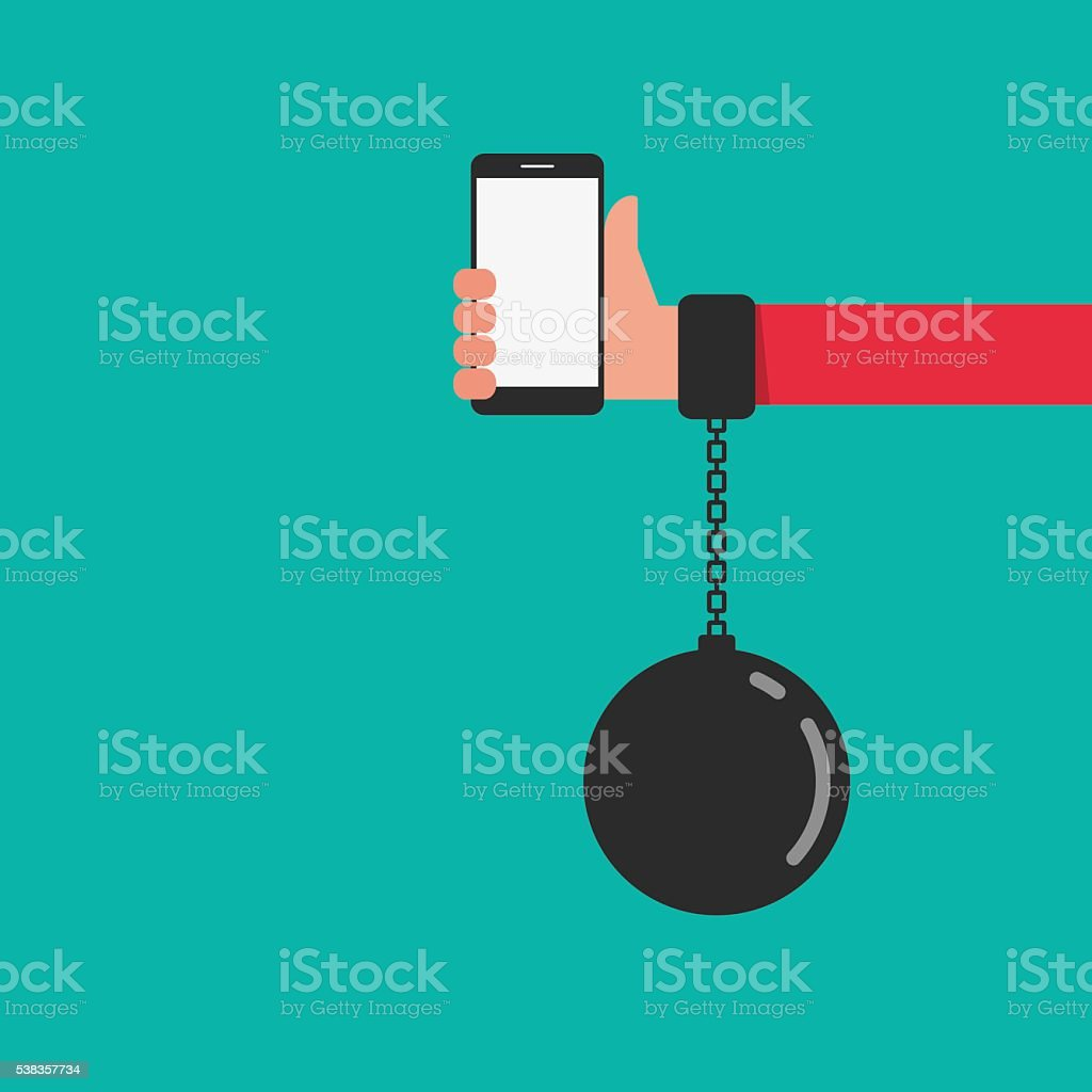 Smartphone chained to handcuff in hand. Smartphone Addiction concept. vector art illustration