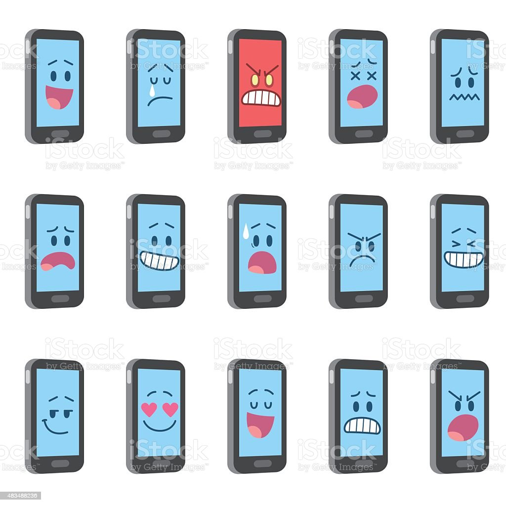 Smartphone characters vector art illustration