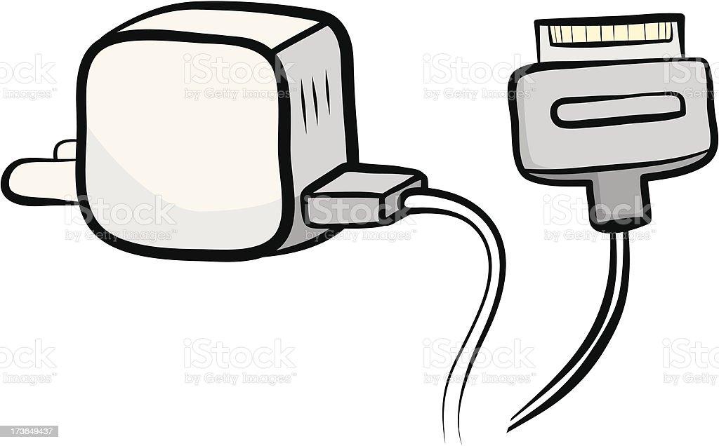 smartphone charger and plug royalty-free stock vector art