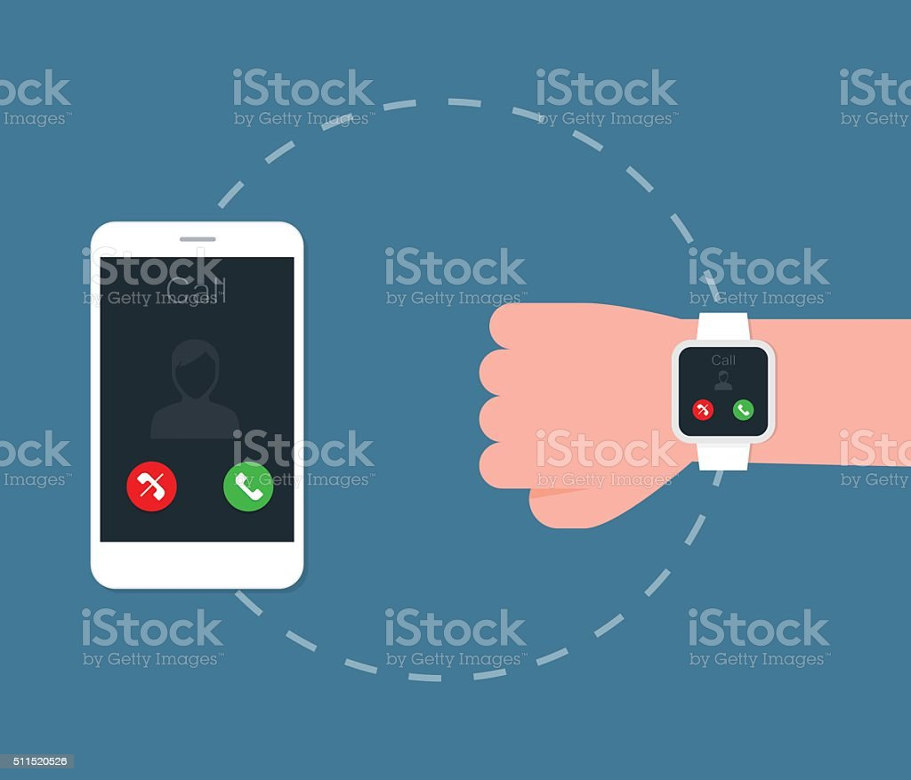 Smartphone connect to Smart watch. vector art illustration