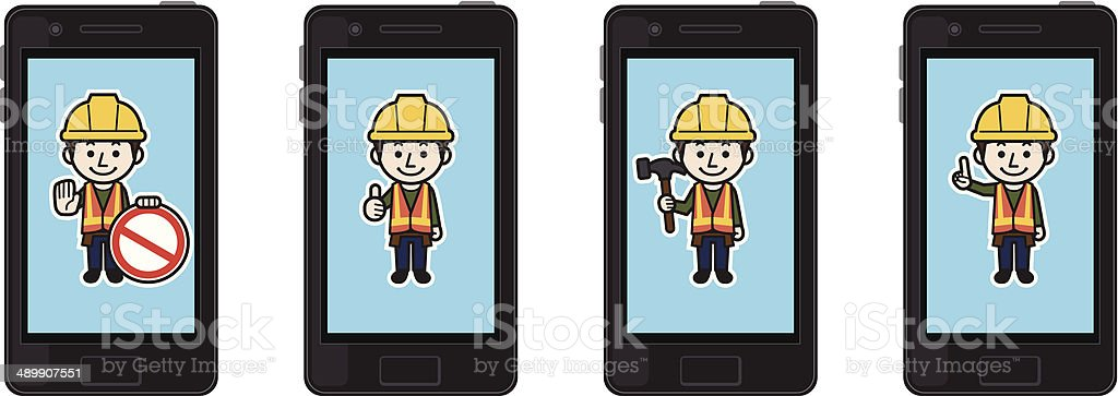 Smartphone Construction worker royalty-free stock vector art