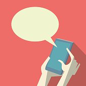 Smartphone conversation or communication banner with hands holding mobile phone