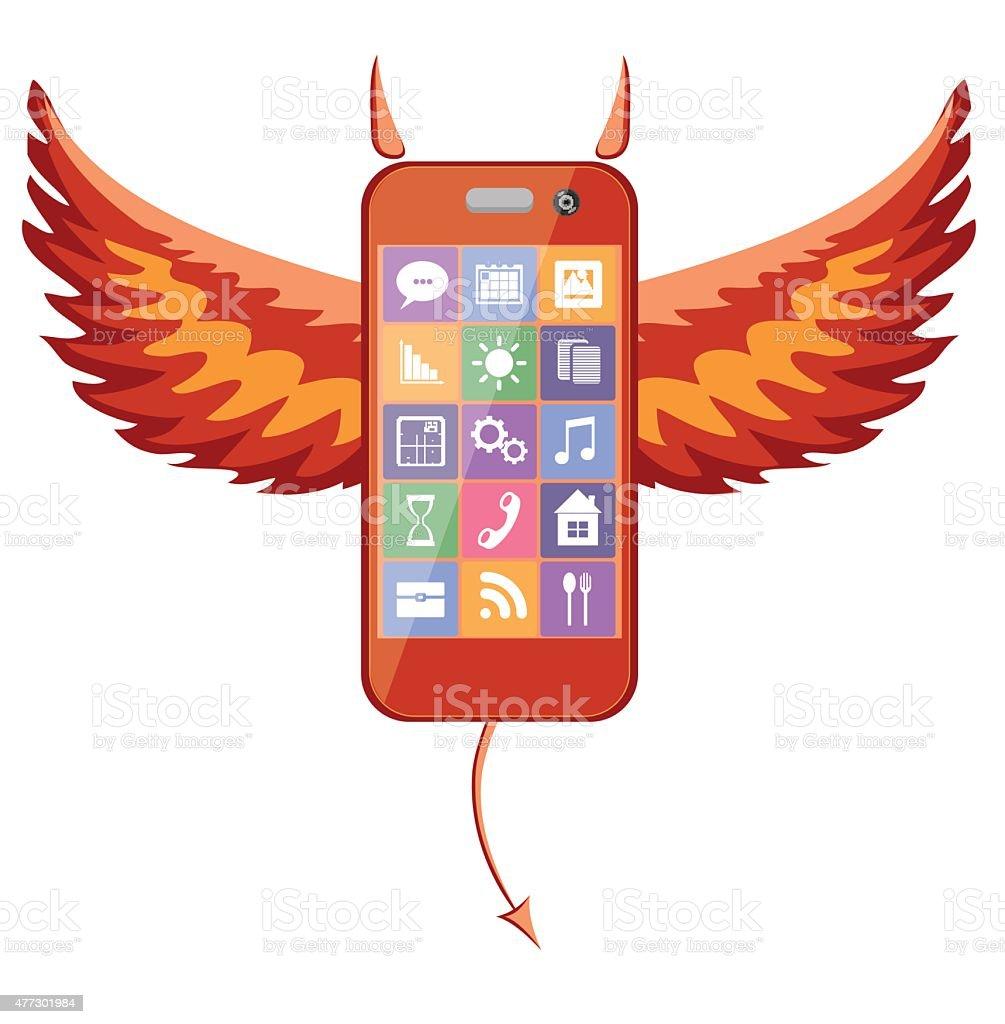 Smartphone devil vector art illustration
