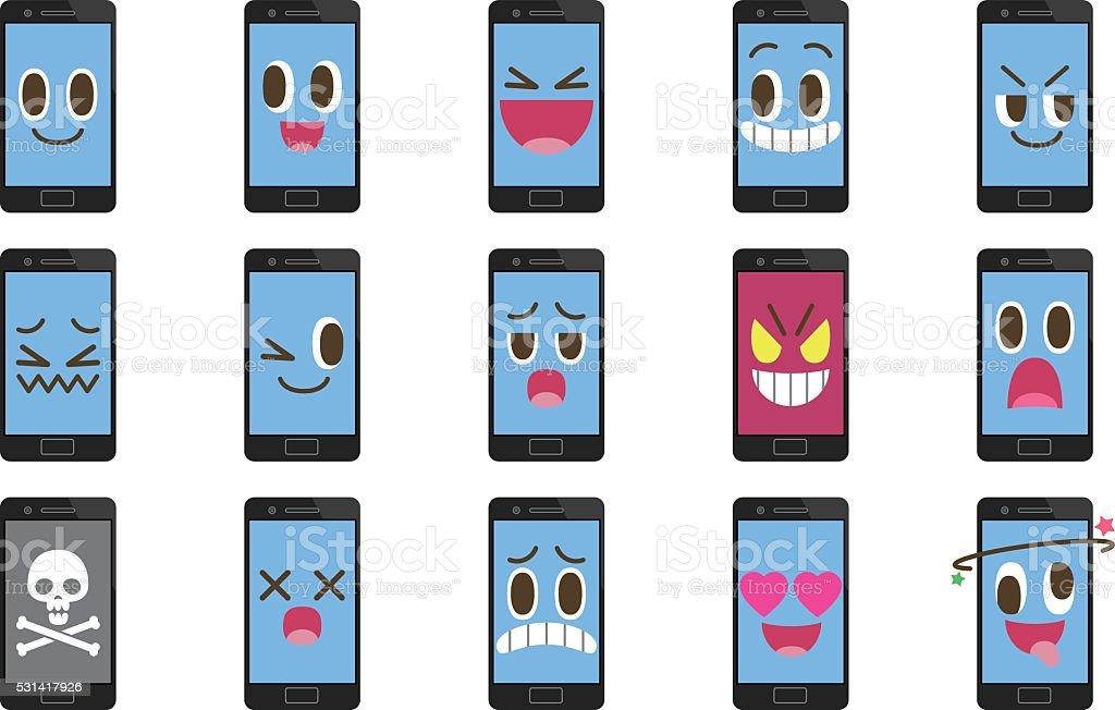Smartphone emoticons vector art illustration