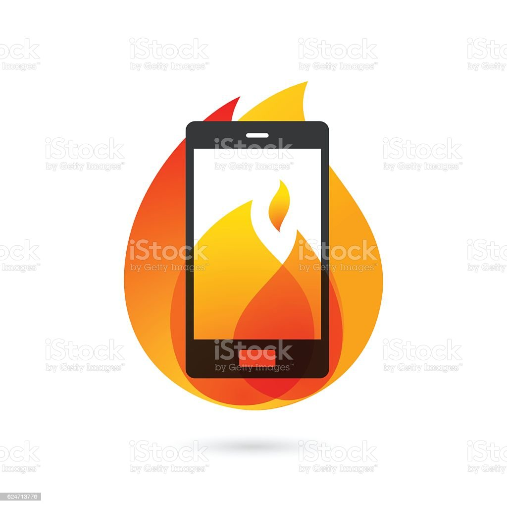 Smartphone explosion with burning fire vector art illustration