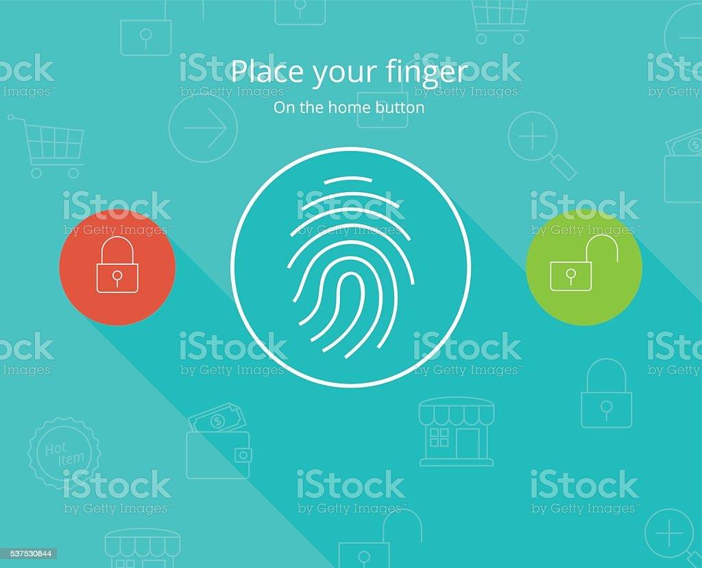 Smartphone fingerprint security access. vector art illustration