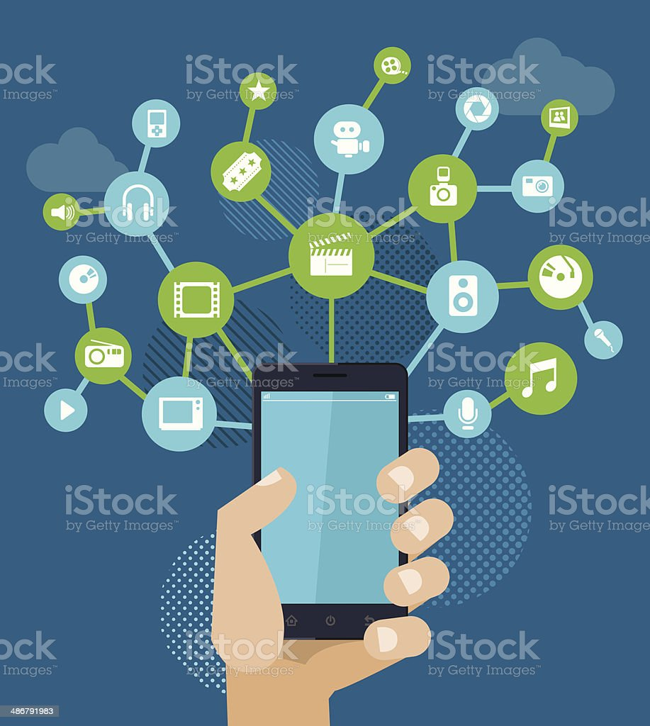Smartphone for entertainment. vector art illustration