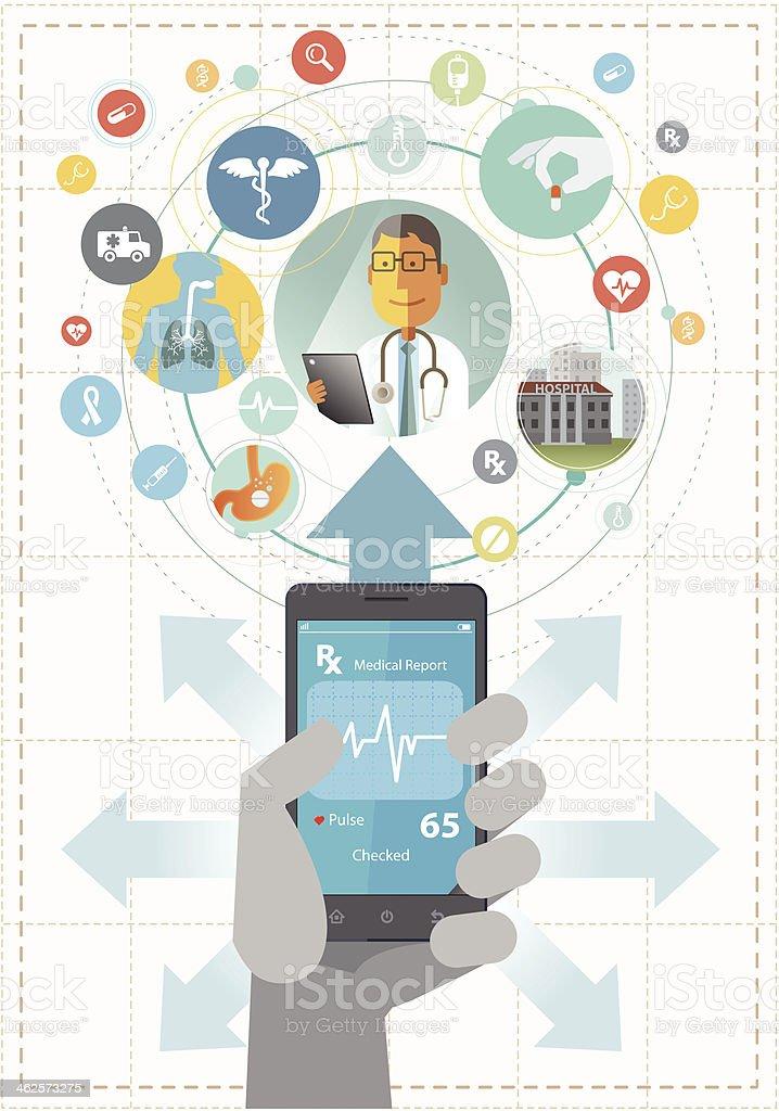 Smartphone for healthcare vector art illustration