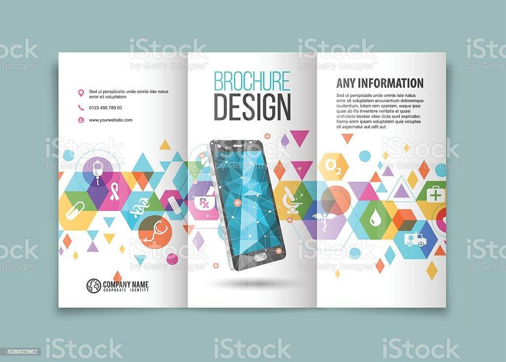 Smartphone for medical trifold vector art illustration