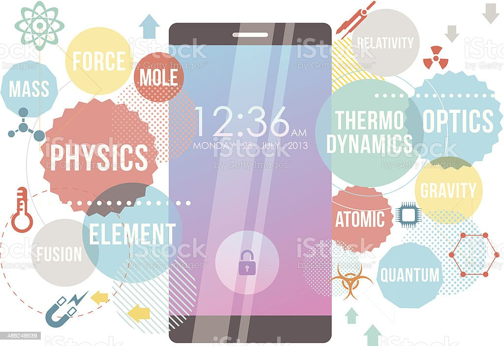 Smartphone for physics royalty-free stock vector art