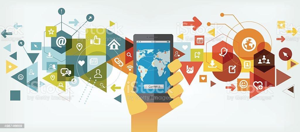 Smartphone for social networking vector art illustration