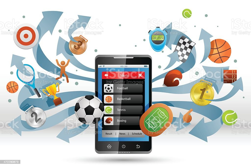 Smartphone for sports fan. royalty-free stock vector art