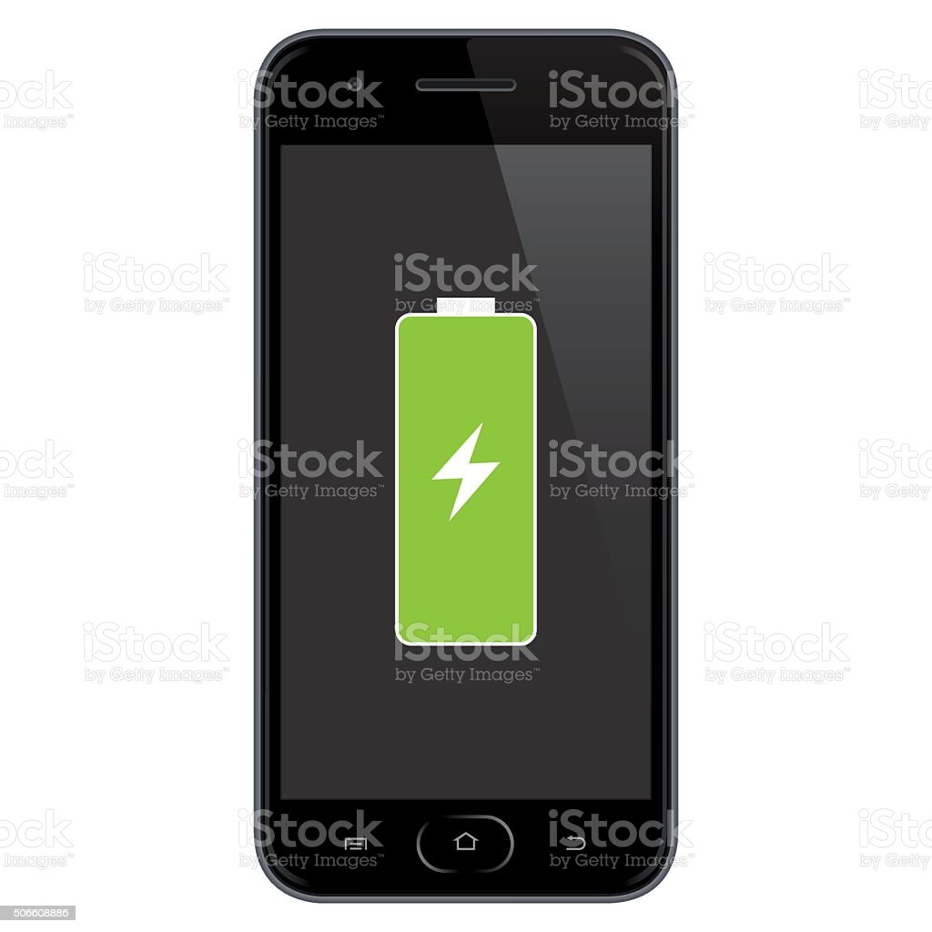 Smartphone Full Battery. vector art illustration