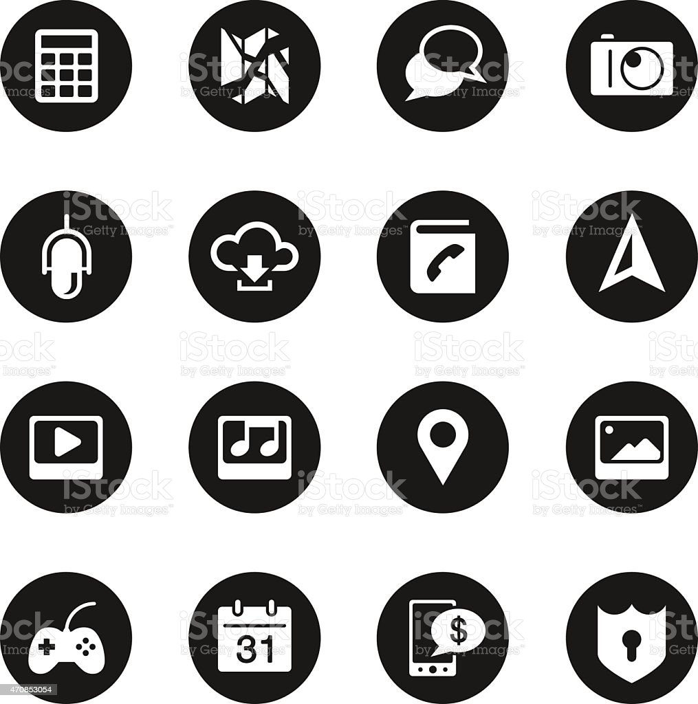 Smartphone Functions Icons - Black Circle Series vector art illustration