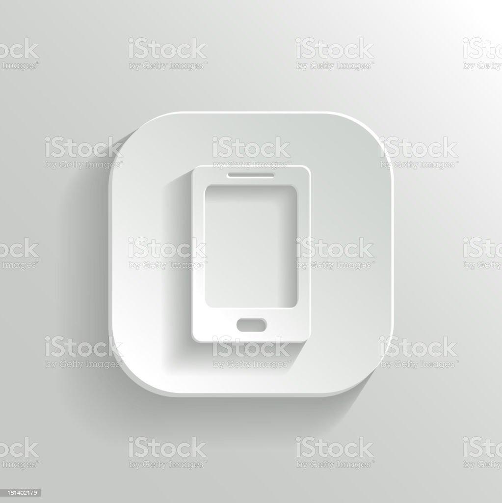 Smartphone icon - vector white app button royalty-free stock vector art
