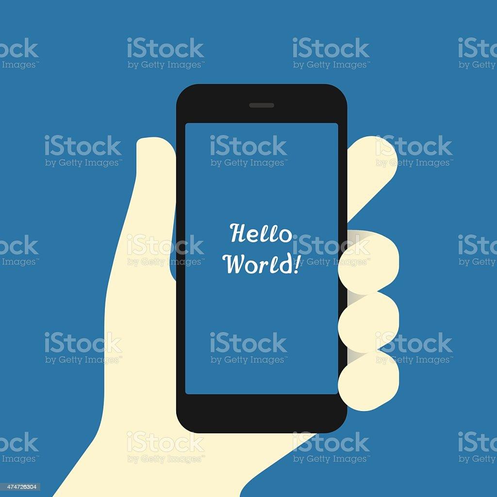 Smartphone in hand Flat design template vector art illustration