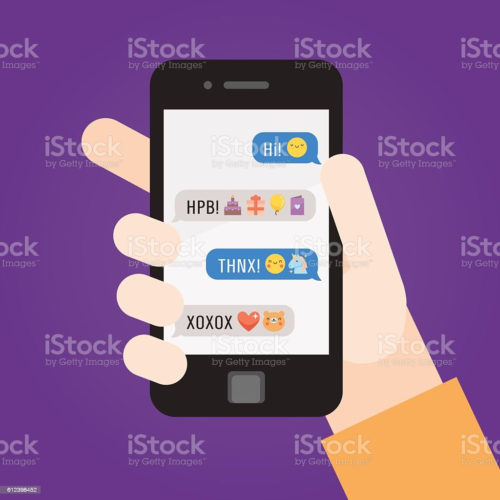 Smartphone in hand. Messages with emoji. Part four. vector art illustration