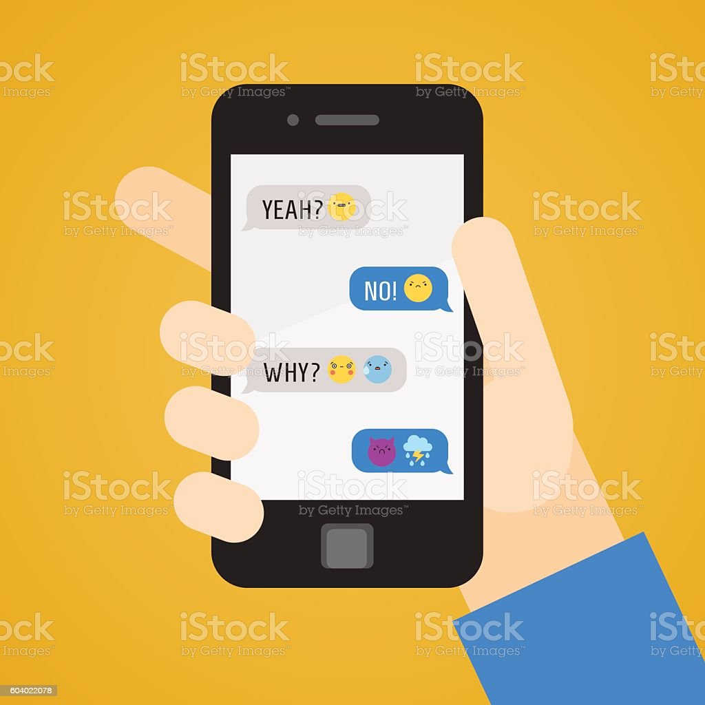 Smartphone in hand. Messages with emoji. Part one. vector art illustration