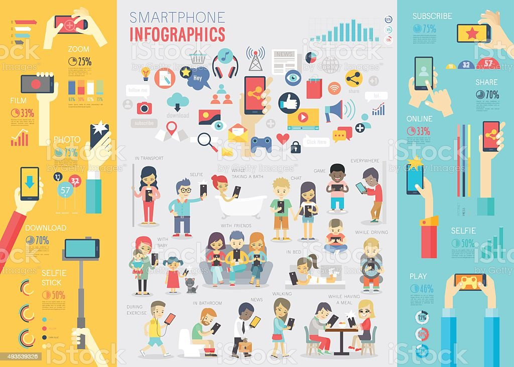 Smartphone Infographic set with charts and other elements. vector art illustration