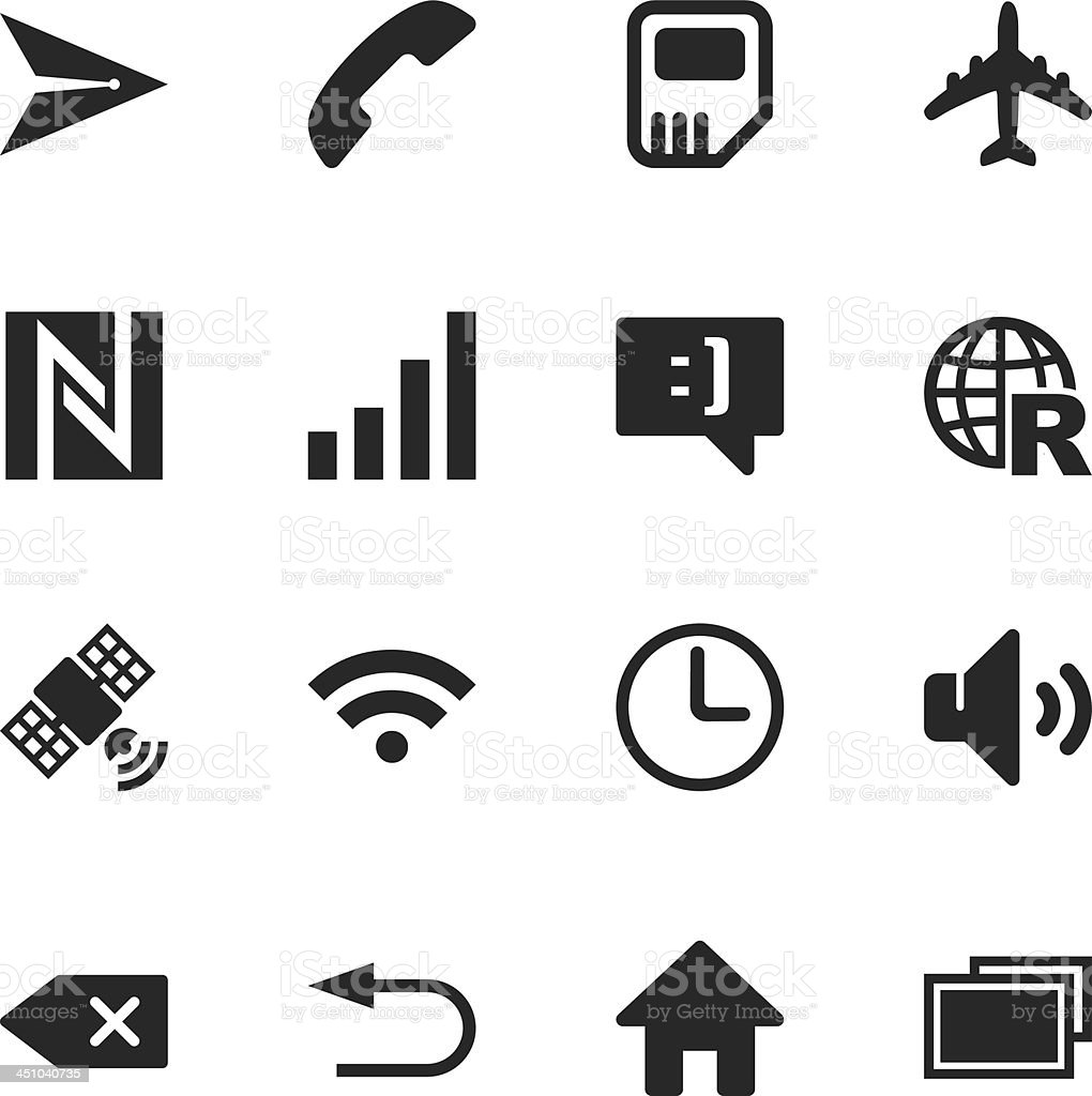 Smartphone Interface Silhouette Icons royalty-free stock vector art