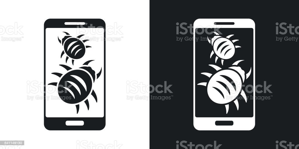 Smartphone is infected by malware, vector illustration. vector art illustration