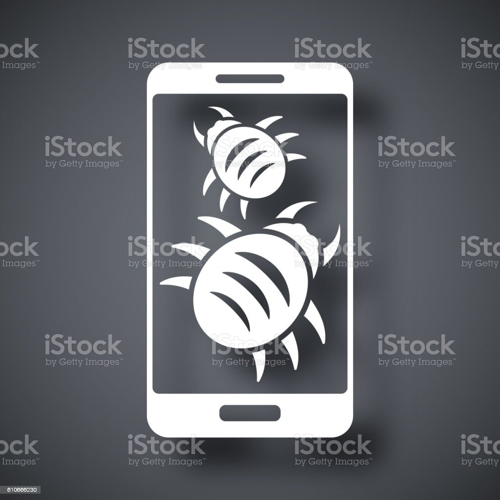 Smartphone is infected by malware, vector illustration vector art illustration
