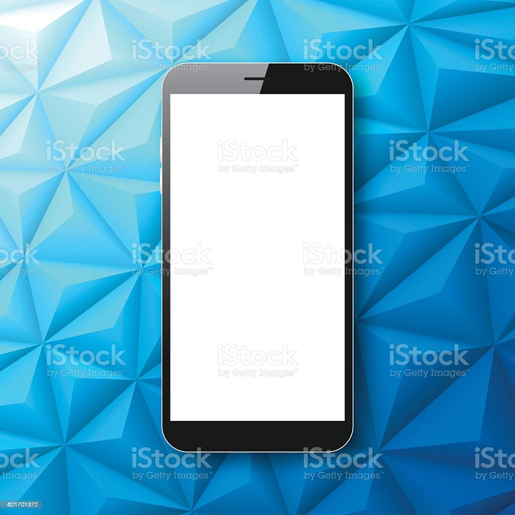 Smartphone isolated on Abstract Polygonal Background - Low Poly, Geometric vector art illustration