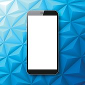 Smartphone isolated on Abstract Polygonal Background - Low Poly, Geometric