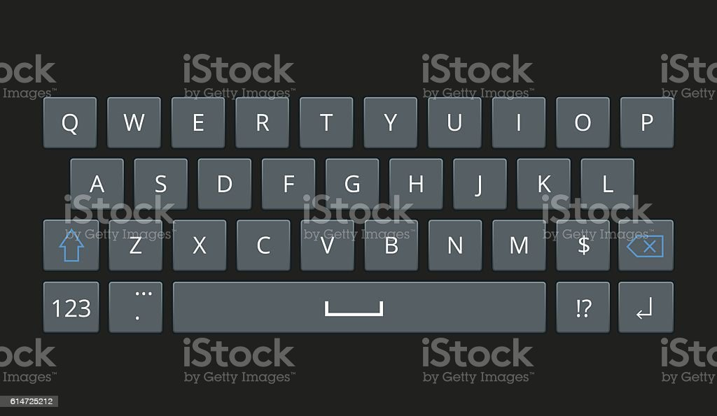 Smartphone keyboard, mobile phone keypad vector mockup. vector art illustration