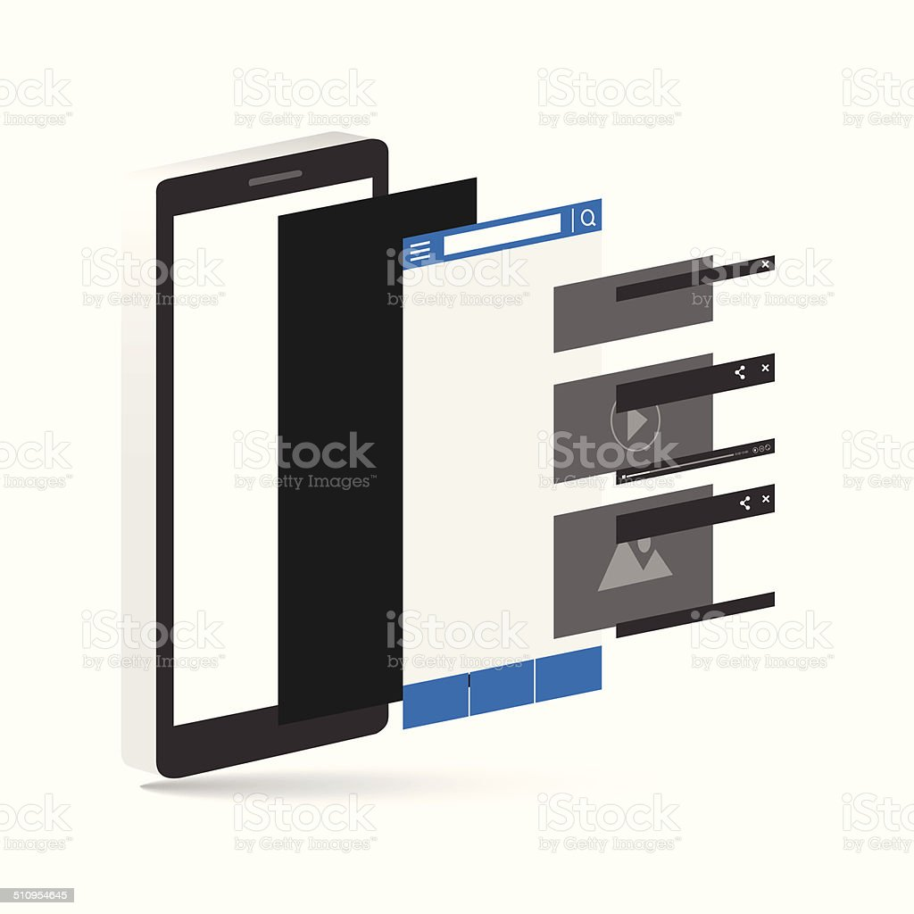 Smartphone layer socail media. vecter illustration vector art illustration