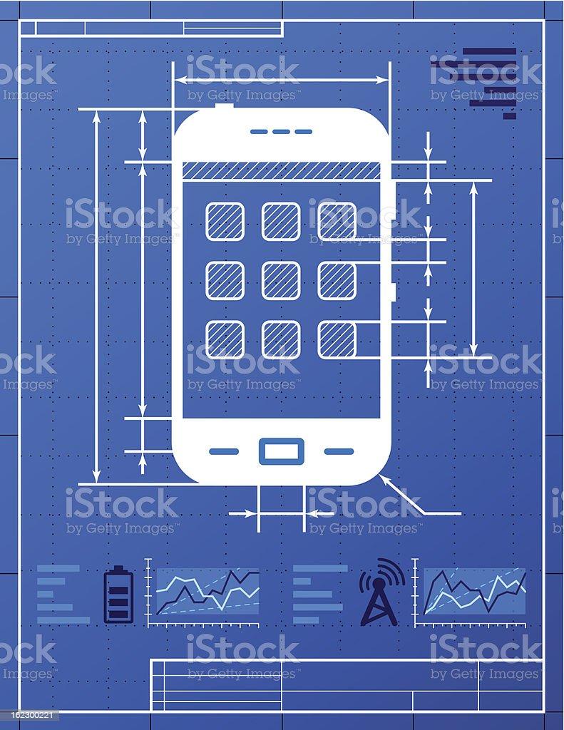 Smartphone like blueprint drawing royalty-free stock vector art