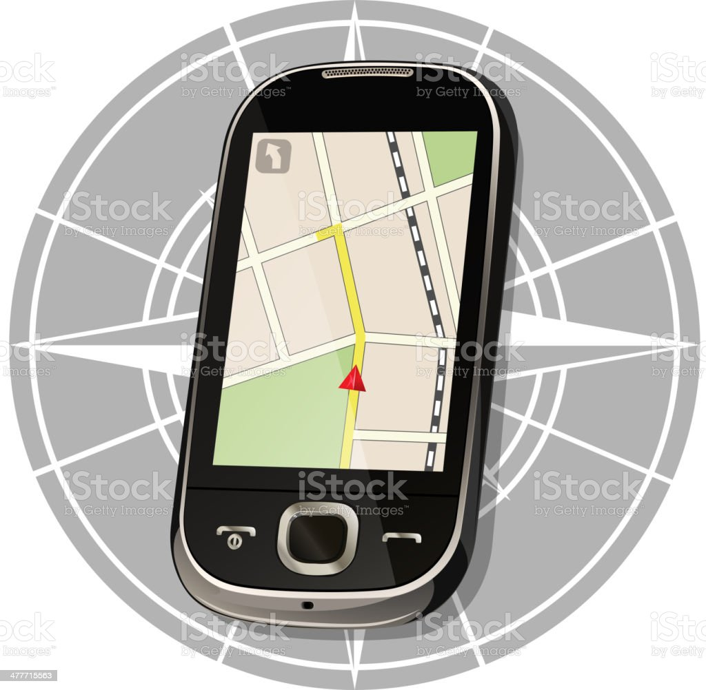Smartphone maps navigation royalty-free stock vector art