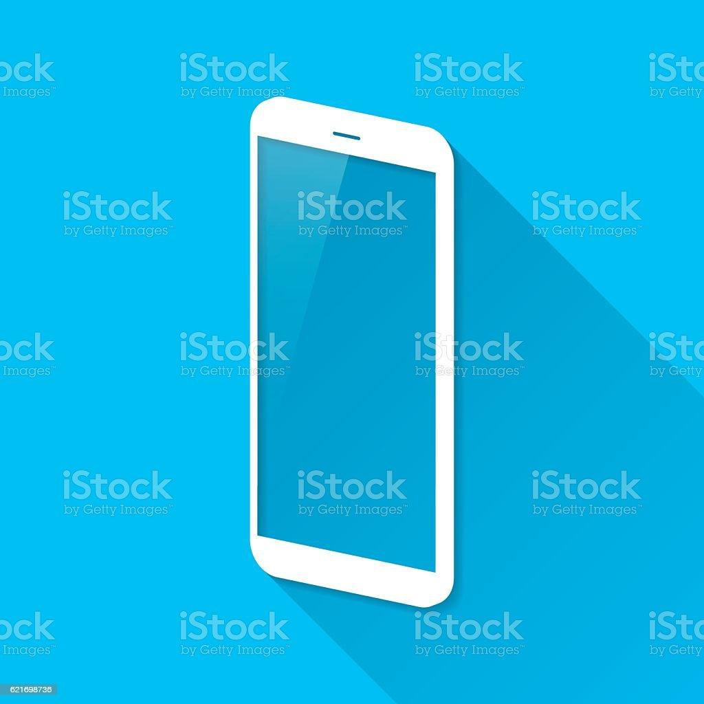 Smartphone, Mobile Phone on Blue Background, Long Shadow, Flat Design vector art illustration