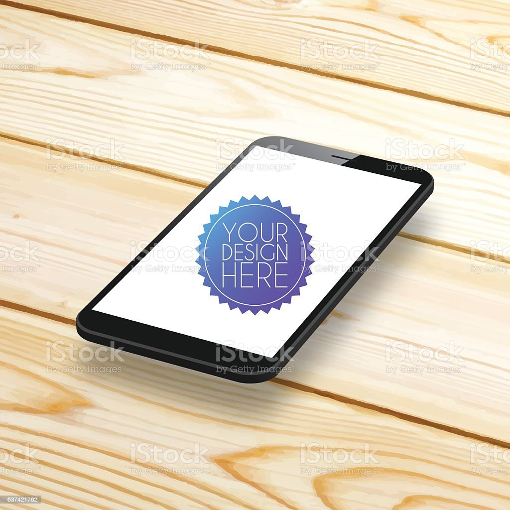 Smartphone, Mobile Phone with blank Screen on Wooden Background vector art illustration