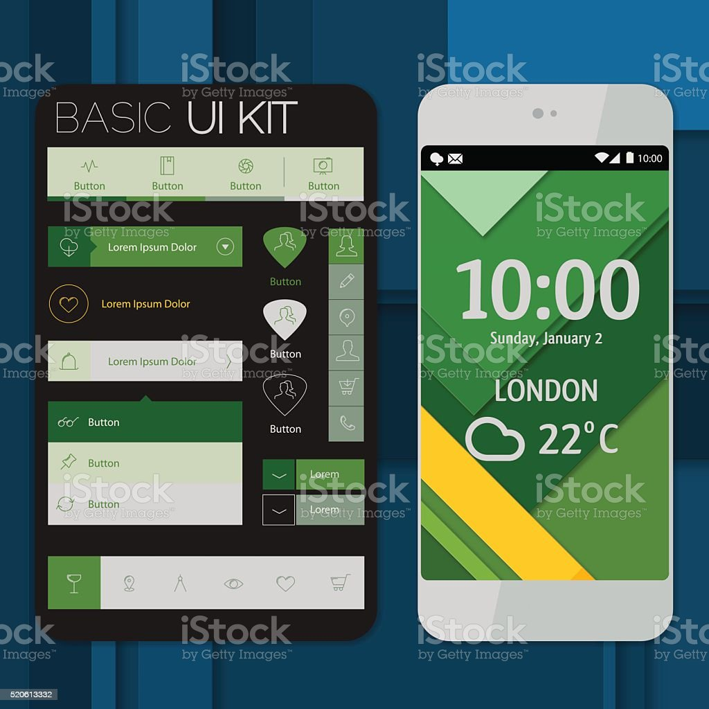 Smartphone mockup with basic UI/UX kit vector art illustration