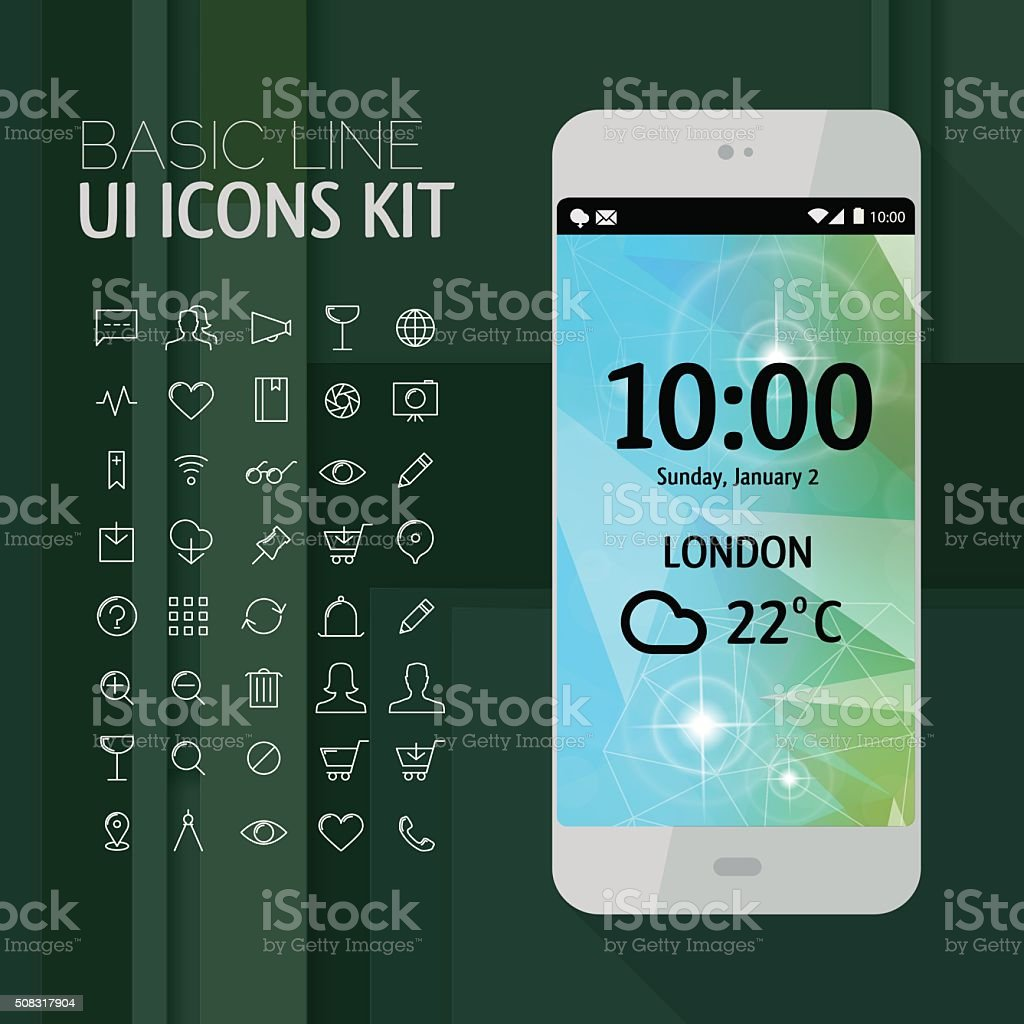Smartphone mockup with line icons vector art illustration