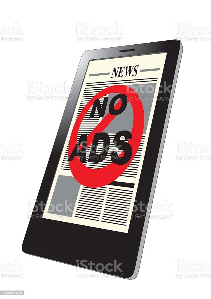 Smartphone no ads vector art illustration