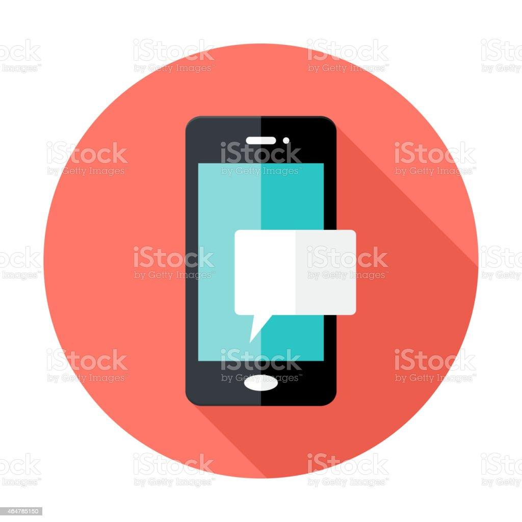 Smartphone Notification Flat Circle Icon vector art illustration